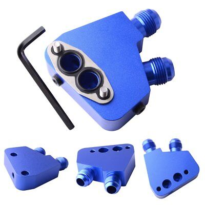 -10 AN Male Oil Filter Sandwich Plate Adapter Blue fit for Engine Oil Cooler Kit