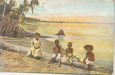 "Vintage Postcard One the Shore ""Porto Rico"", Puerto Rico"