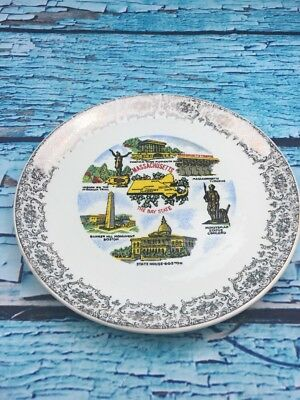 W17- Massachusetts State collector souvenir vintage ceramic plate with plate