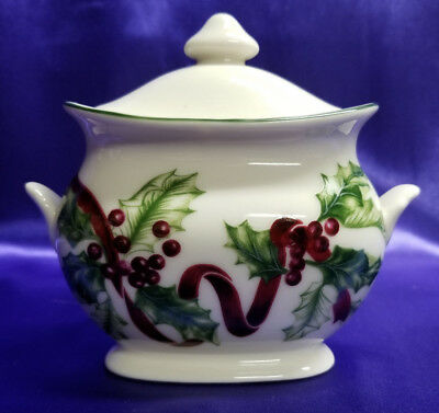Charter Club WINTER GARLAND Covered Sugar Bowl w/Lid Red Ribbon Holly Berry EUC