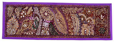 Patchwork Beaded Wall Hanging Handmade Tapestry Vintage Home Decor Art 30X10""