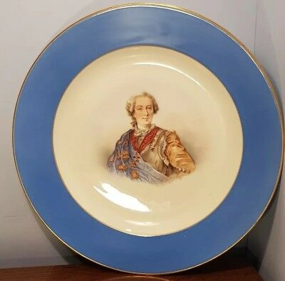 19th CENTURY FRENCH PORTAIT MINIATURE HANDPAINTED WALL CHARGER  BUST LOUIS XV