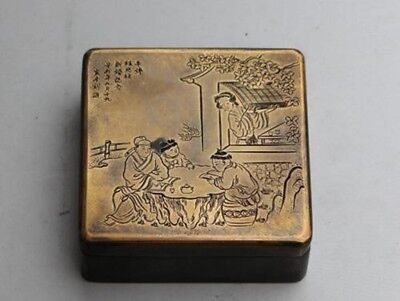 Collection Chinese carved exquisite designs square old copper ink box bh769