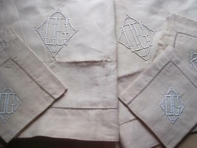 Amazing Unused Xl French Pure Linen Sheet & Matching Pillowcases, Superb Fabric