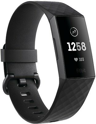 Fitbit - Charge 3 Activity Tracker + Heart Rate - Black/Graphite - FB409GMBK