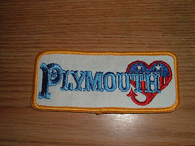 Vintage Plymouth Heart Tail  Embroidered Patch