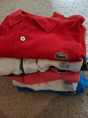 LACOSTE Lot of Five 5 Men's Short Sleeve Polo Shirts US Large / EUR 6 All EUC