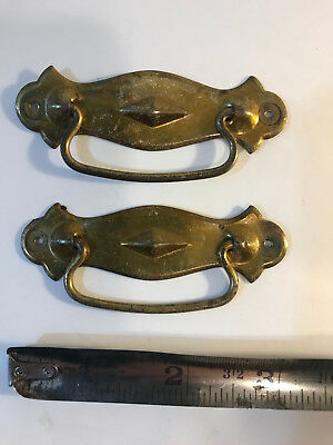 BOXMAKERS!  Pair of Small Vintage Pressed Steel Drawer Pulls--(Nail-In Type)