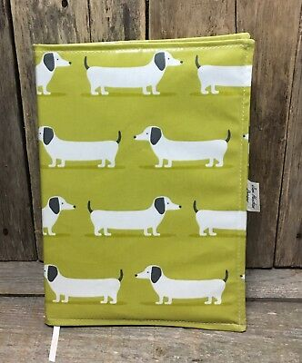 A4 diary cover,book bag,A4 book bag,diary cover,Lime Green Dachshund oilcloth