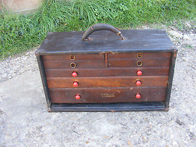 Antique Vintage Old Pilliod Machinist Engineering Tool Chest Box with 7 Drawers