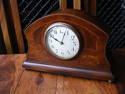 Antique Vintage Edwardian Mahogany Inlaid Case Mantle French Movement Clock