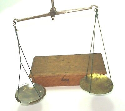 Nineteenth Century Antique Apothecary's Steel and Brass Balance in Oak Case