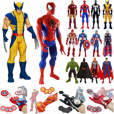 Avengers Spider Man Hulk Wolverine Action Figures Launchers Gloves Cosplay Toys