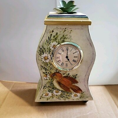 Mantel Clock is Hand Painted w/ Bird has Swedish Style Curves Metal Flower Top