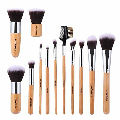 Professional Bamboo Handle Make Up Brushes Set in Bag Kabuki Foundation Eye Brow