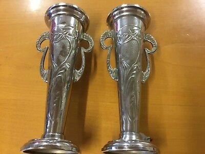 "Pair of Beautifully Shaped Art Nouveau  Plated  Vases by ""Beldray"", England"