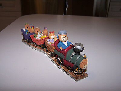 Adorable !!!  7  Bears On A Train, Colorful Hand Painted Assorted Bears, New !!!