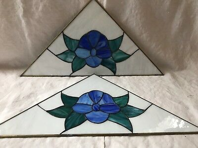 2 VINTAGE LEADED STAINED GLASS BLUE FLORAL WINDOW PANEL or WALL HANGING Triangle