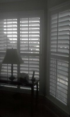White Plantation Window Shutters For Bay Windows 3 Inch Slats Brand New