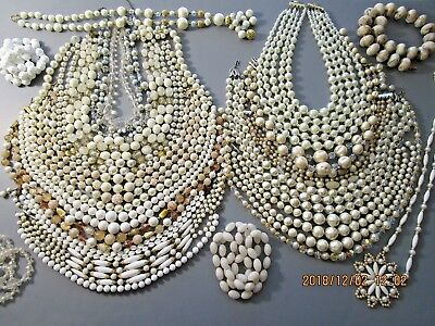 Vintage Beaded Necklace Lot 23 Necklaces White, Off White & Clear Beaded  Lot