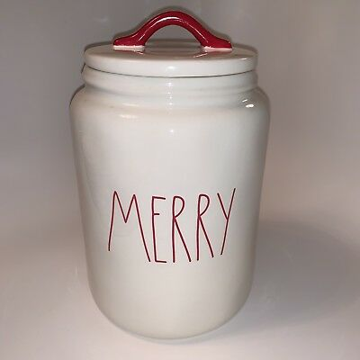 Rae Dunn By Magenta LL MERRY Large Christmas Canister 2018 NEW