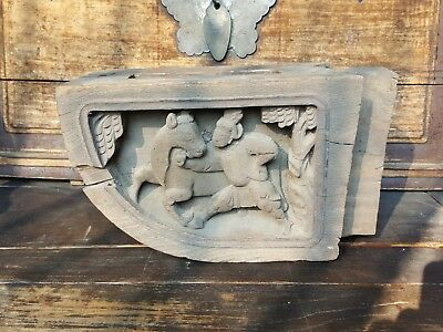 Rare Vintage Chinese Old Style House Wooden Beam Carving Carved Statues Figures