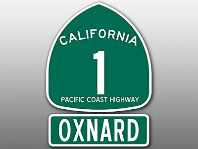 4x5.5 inch PCH 1 and OXNARD Sticker (Highway ca rv Beach travel route sign road)