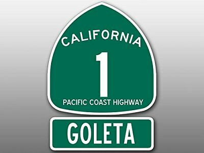 4x5.5 inch PCH 1 and GOLETA Sign Shaped Sticker (Highway ca rv Beach Route Road)