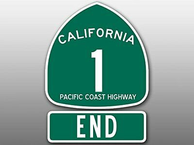 4x5.5 inch PCH 1 and END Sign Shaped Sticker (Highway ca rv Beach Route Road)