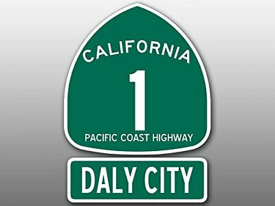4x5.5 inch PCH 1 and DALY CITY Sign Shaped Sticker (Highway rv Beach Route Road)