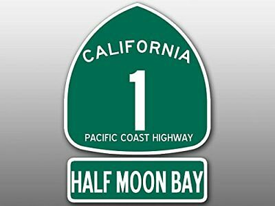 4x5.5 inch PCH 1 and HALF MOON BAY Sign Shaped Sticker - highway ca Beach Road