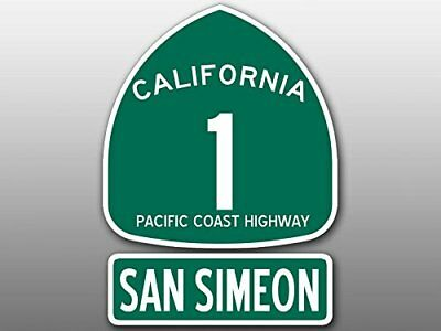 4x5.5 inch PCH 1 and SAN SIMEON Sticker (Highway ca rv sign beach Route Road ss)