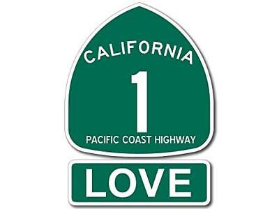 4x5.5 inch PCH 1 and LOVE Sign Shaped Sticker (Highway ca rv Beach Route Road)