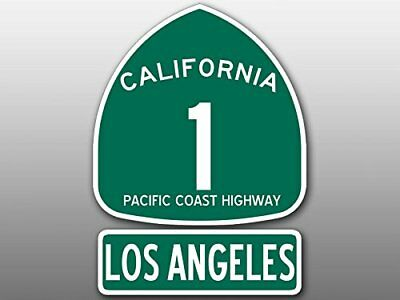 4x5.5 inch PCH 1 and LOS ANGELES Sign Shaped Sticker (Highway ca rv Beach Road)