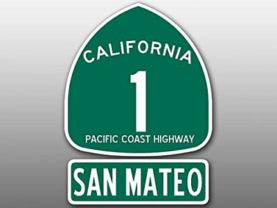 4x5.5 inch PCH 1 and SAN MATEO Sticker (Highway ca rv sign sm beach Route Road)