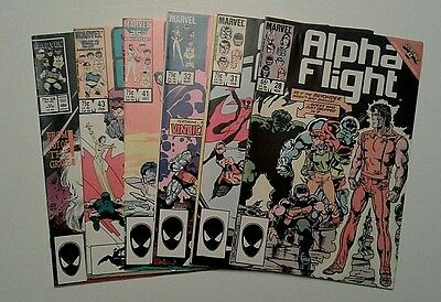Alpha Flight 28,31,32,41,43,45---6 Issue Lot Marvel John Byrne 1985