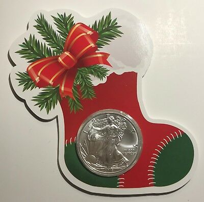 2018 CHRISTMAS STOCKING - SILVER EAGLE DOLLAR - 1 oz. - .999 FINE SILVER COIN