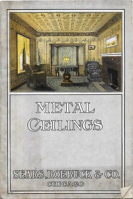 VINTAGE ANTIQUE METAL TIN CEILINGS ILLUSTRATED CATALOG -1900's SEARS ROEBUCK CO.