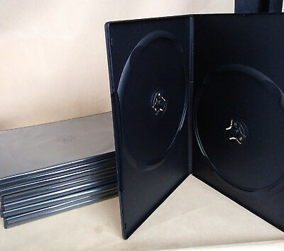 10 Thin DOUBLE DVD Cases Boxes 5mm 2DVD used Black Two Disc Holder lot ten slim