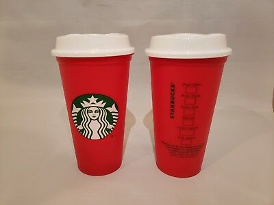 4 Starbucks 2018 Reusable 16oz Holiday LE Cup Red, Peace, Love, Coffee Black