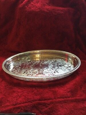 "Pilgrim SILVER 12-3/4"" Round Plated Gallery Serving Tray: Engraved 'T'"