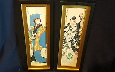 Vintage Pair of Framed Colored Penciled-Japanese Man & Woman Wall Hangings