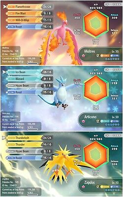Pokemon Let's Go ALL 3 shiny legendary birds 6iv