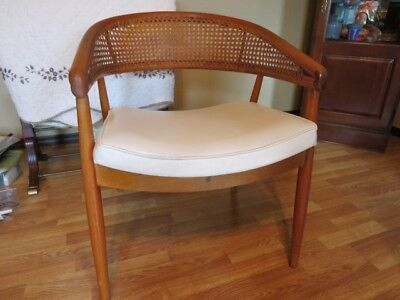 Mid Century Modern Thonet Bentwood Rattan Cane Lounge Chair Leather Seat