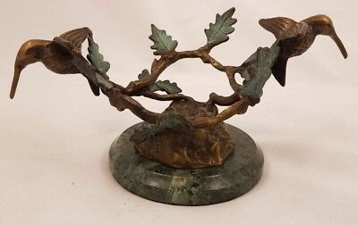 HUMMINGBIRD BRONZE FIGURINE w MARBLE BASE MINT COND MADE BY SPI