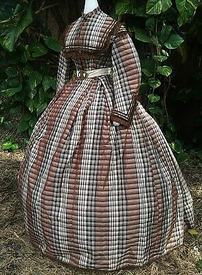 ANTIQUE CIVIL WAR ERA LADY'S DRESS c.1860s VICTORIAN VINTAGE