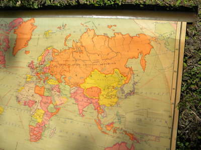 Vintage 1930's School Classroom Pull-Down Wall Hung World Map Johnston & Nystrom