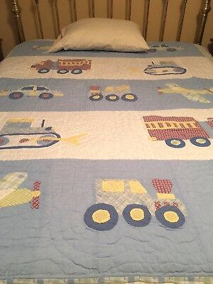 Boys Twin Size Fire Truck Quilt Blue Red Reversible Cotton