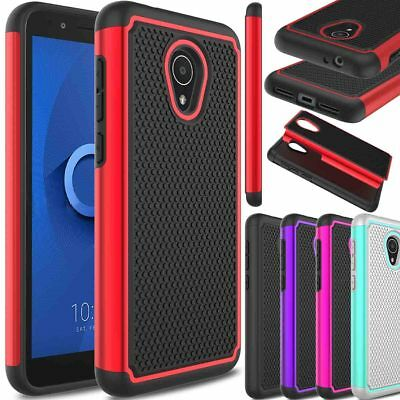 For Alcatel TCL LX/Ideal XTRA Hybrid Rubber Hard Impact Armor Phone Case Cover