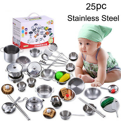 25Pcs/1Set Kids Play House Kitchen Toys Cookware Cooking Utensils Pots Pans Gift